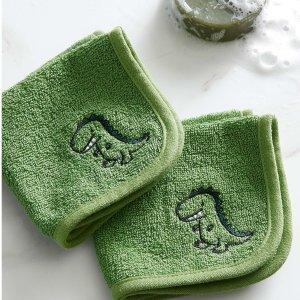 Simons Maison25.5*25.5cm 100% 纯棉刺绣小恐龙小毛巾2条