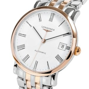 $1395LONGINES Elegant White Dial Steel and 18K Rose Gold Automatic Ladies Watch Item No. L4.809.5.11.7