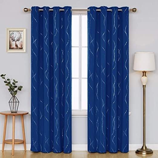 52 x 84 Inch深蓝色遮光窗帘 2片