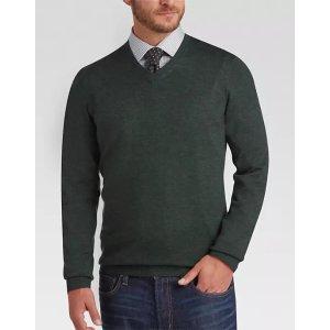 12a2d4c857 Joseph Abboud Dark Green V-Neck Merino Wool Sweater - Men s Sweaters