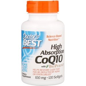 Doctor's BEST High Absorption CoQ10 with BioPerine, 100 mg, 120 Softgels
