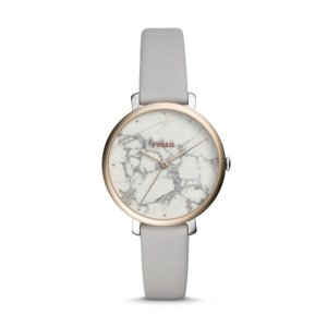 FossilJacqueline Three-Hand Mineral Gray Leather Watch