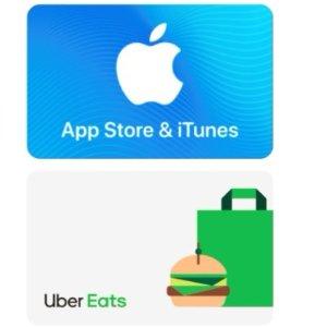 价值$50 送$10 Uber eats礼卡Apple App Store and iTunes 礼卡
