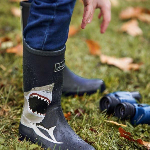 男童可卷边鲨鱼雨靴