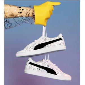 7折+折上8折Puma 与上海设计师TYAKASHA联名 最萌男女涂鸦小白鞋