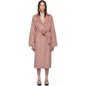 Nanushka樱花粉羊毛混丝裹身大衣