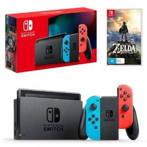 $456(原价$559)任天堂 Switch游戏机+塞尔达传说套装热卖