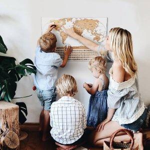 $16.99 Landmass Goods Scratch Off World Map Poster