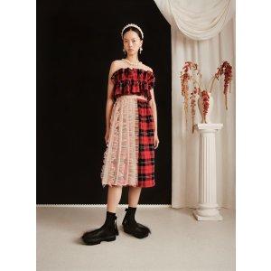 H&M格纹拼接连衣裙