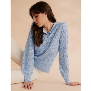 Pointelle Button Front Fitted Cardigan