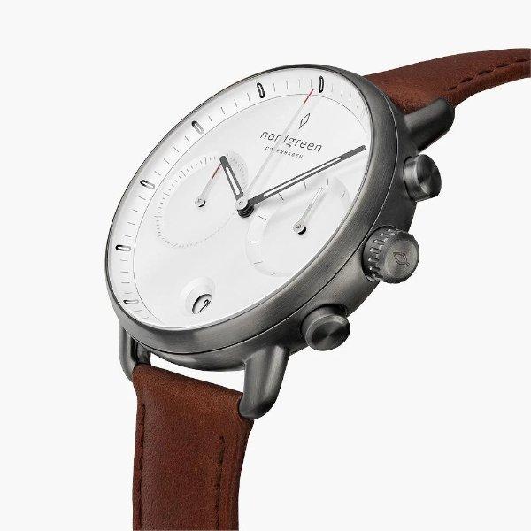 Pioneer 棕色皮革表带手表