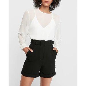 ExpressSuper High Waisted Belted Bermuda Shorts