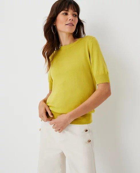 芥末黄短袖毛衣