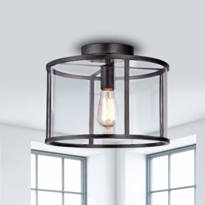 La Pedriza Antique Black Finish Clear Glass Industrial Cage Flush Mount Chandelier