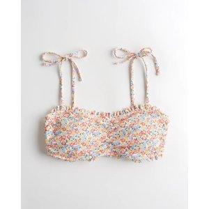 HollisterTextured Tie-Shoulder Square-Neck Bikini Top