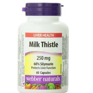$10.63(原价$15.99)养肝护肝 解酒排毒!Webber Naturals Milk Thistle 水飞蓟护肝胶囊 60粒