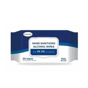 $0Caresour Hand Sanitizing Wipes, 75% Alcohol - 50 ct