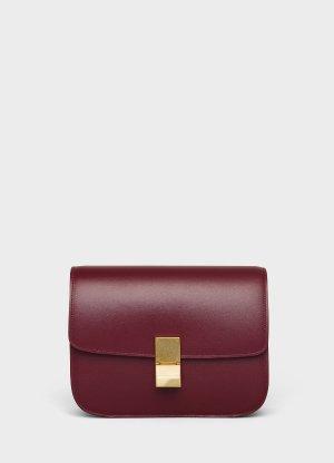 Medium Classic bag in box calfskin - Burgundy - Official website   CELINE