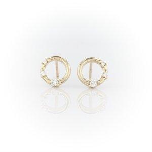 Blue NileMini Diamond Three-stone Open Circle Stud Earrings in 14k Yellow Gold (1/8 ct. tw.) | Blue Nile