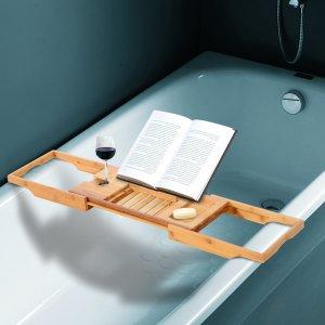 $39.99(原价$139.99)+免邮竹制可拉伸浴缸架 泡澡追剧两不误 让泡澡拥有更多乐趣