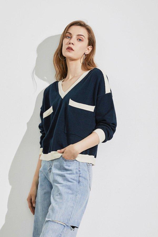 Maura Navy Colorblock 毛衣