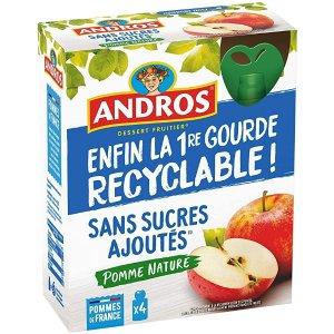 ANDROS满4件享9.5折,无添加糖儿童果泥 90g*4(苹果味)