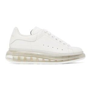 Alexander McQueen官方定价$675新款透明底小白鞋