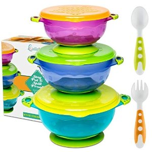 宝宝防漏餐碗3个装,密封带吸盘