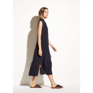 VinceShadow Dot Sleeveless Drape Neck Dress