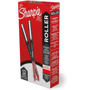 Sharpie Rollerball Pen, Needle Point (0.5mm) Precision Pen, Red Ink, 12 Count