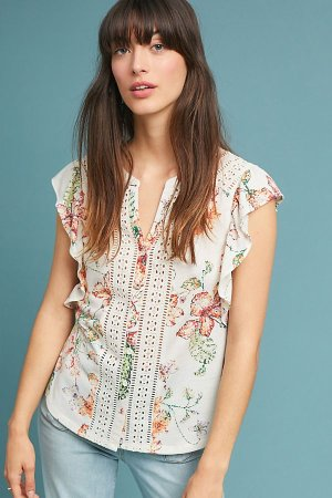 Kailana Flutter-Sleeve Top | Anthropologie