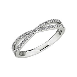 Blue NileCrisscross Pave Diamond Wedding Ring in 14k White Gold (1/3 ct. tw.) | Blue Nile