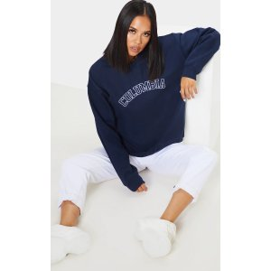 PrettyLittleThingNavy Columbia Embroidered Oversized Sweater