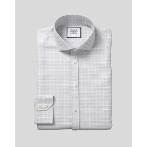 Charles TyrwhittSpread Collar Non-Iron Check Shirt - Silver