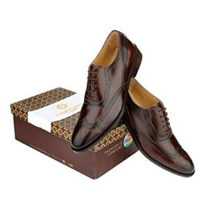 e035a762e Liberty Men s Brogue Perforated Burnished Toe Handmade Leather Wing-tip Lace  up Oxford Dress