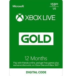 $39.99(原价$59.99)Xbox Live 12个月金会员 数字下载版