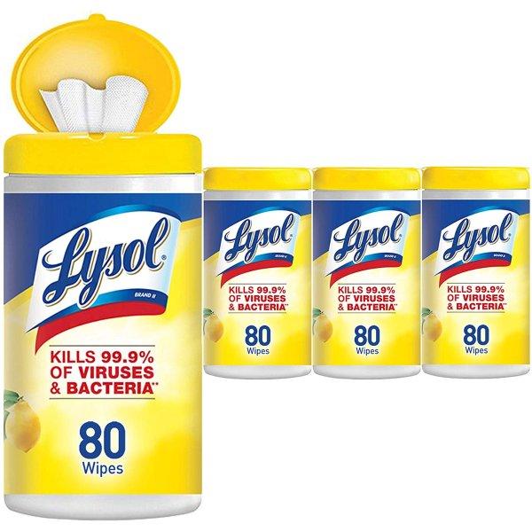Lysol 消毒湿巾80片4盒,共320片