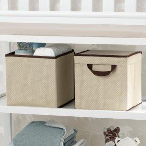Delta Children 2-Pack Lidded Storage Bins, Beige