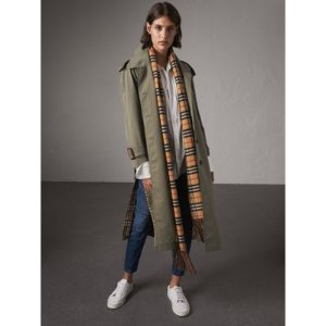 Side-slit Tropical Gabardine Trench Coat in Chalk Green - Women | Burberry United States