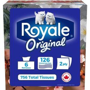 好价回归$5.98 (原价$8.79)Royale Original 柔软3层面巾纸 6盒 X 126张 畅销品牌