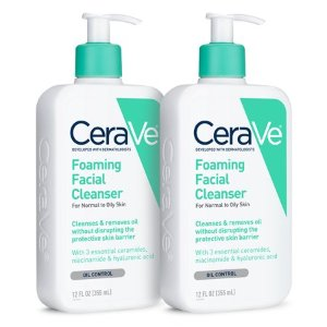 $21.3(2 Pack) CeraVe Foaming Face Wash, Cleanser for Normal to Oily Skin, 12 oz @ Walmart