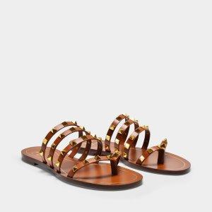 ValentinoRockstud Sandals in Brown Leather