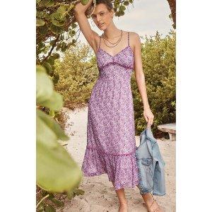 香芋紫碎花连衣裙