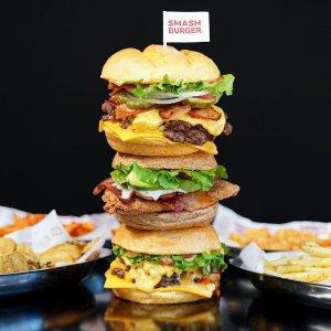 经典双层芝士汉堡 买一送一Smashburger 汉堡日活动 9月18号 个大料足豪放派汉堡