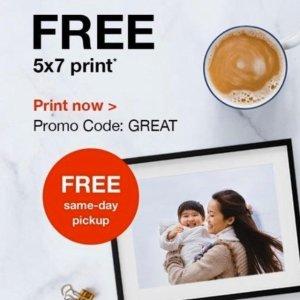 CVS Photo 免费打印 5x7照片