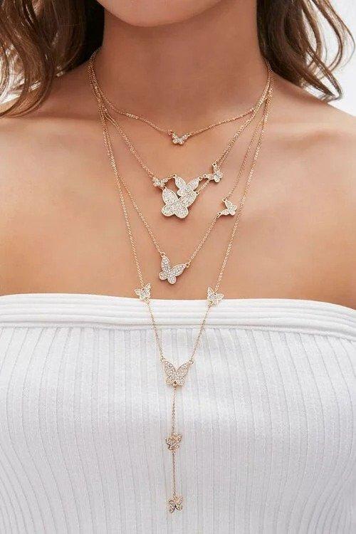 蝴蝶叠戴项链