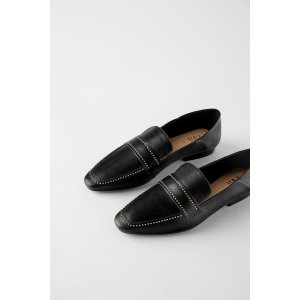 ZaraSOFT LEATHER LOAFERS WITH MICRO STUDS Details