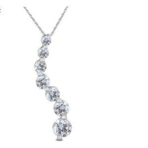 只要$328独家:Szul.com 精选1克拉14K白金钻石挂坠项链特卖