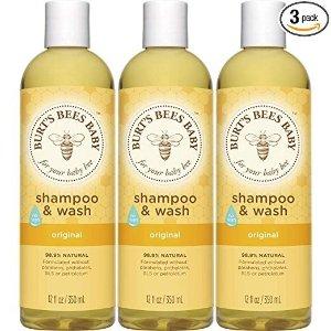 Burt's Bees BabyShampoo & Wash, Original Tear Free Baby Soap - 12 Ounce Bottle (Pack of 3)