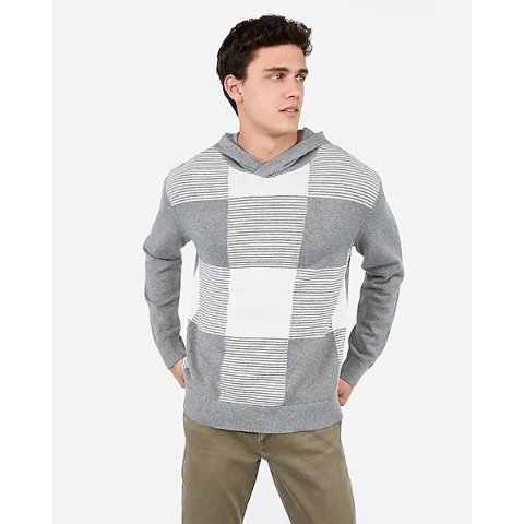 Striped Check Hooded Sweater